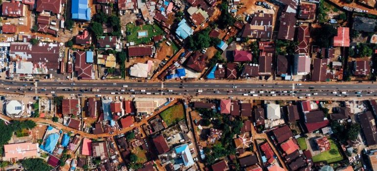 Aerial photography of neighborhood