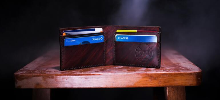 an opened wallet on the table